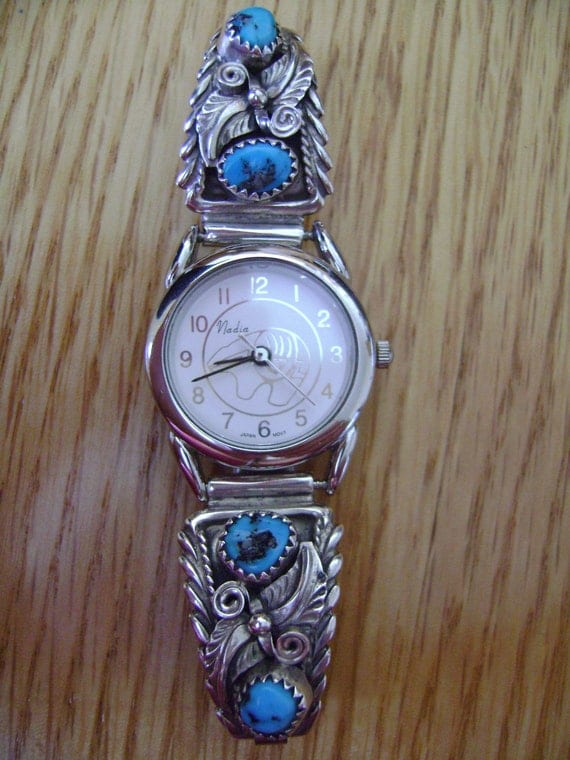 Vintage Turquoise Sterling Silver Nadia Watch