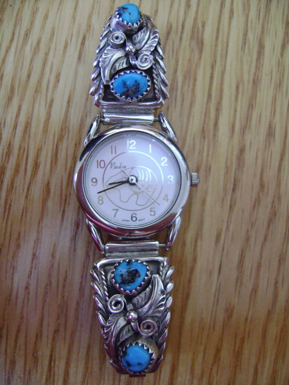 Vintage Turquoise Sterling Silver Nadia Watch By