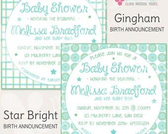 Gingham / Star Bright Baby Shower Invitation