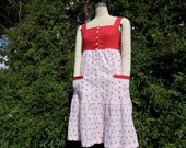Embroidered cotton Sundress with pure linen bodice has tiered skirt,  pockets and half lining.