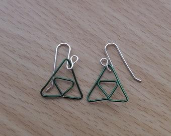 Green Wire Triforce Earrings