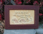 Thankful Hearts Primitive Stitchery- Fall, Autumn, Halloween, Thanksgiving Decorating