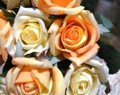 Premium Silk Roses - Peaches and Creams - Set of 6 Roses with 9 FREE Rose Leaves