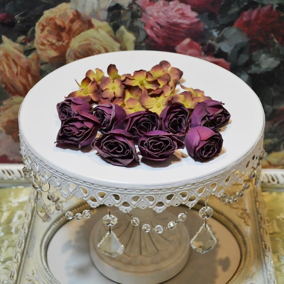 Silk Victorian Parchment Style Roses - Dark Purple - Set of 9