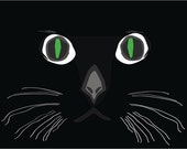 Green Eyed Black Kitty Shadow Face Bold Illustrated Graphic Print