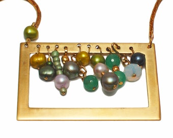 Brass necklace with framed pearls and agates, modern