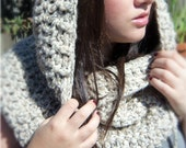 The McKinley - a blond cowl hoodie in chunky soft wool