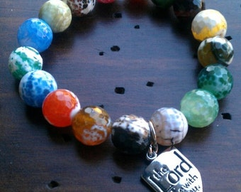Multi-Agate Charm Bracelet-The Lord Be With You