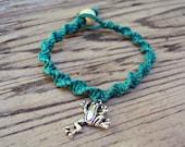 Macrame Hemp Bracelet Frog Charm Green Eco-Friendly Spiral Knot