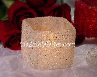 """Votive 2"""" Square Beaded Candle Holder-Wedding-Hand Beaded-Gifts-Special Occassion-Couture Wedding-Favors-Bridesmaids-Home Decor-Centerpieces"""