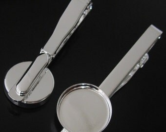 Tie clips with 16mm bezel setting 300 pieces in platina plated free shipping by  DHL