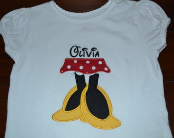 Personalized Minnie Legs Bodysuit or Shirt