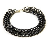 Simple Black Chainmaille Bracelet