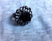 Black Rose Lolia Ring Filigree Gun Metal Adjustable