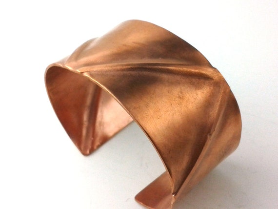 Copper Bracelet Cuff Multi Fold Formed - Earthy Organic Zig Zag Tribal Polished Shiny Satin Finish Hammered Jewelry 18g