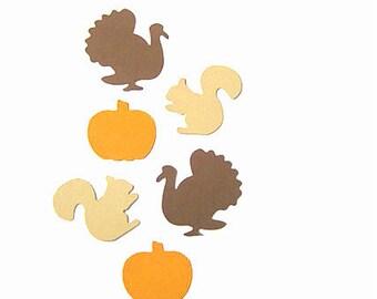 50 Thanksgiving Confetti, Turkeys confetti,Squirrel confetti,Pumpkin confetti, 50 Fall Paper Punches,Thanksgivingdecorations,table confetti