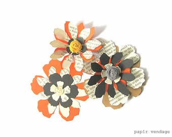 DIY Halloween 41pc. Paper Flowers Kit, Vintage Paper Flowers, Paper flower diecuts, Tim Holtz Tattered Flowers Diecuts