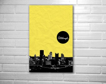 City art skyline poster cityscape of Pittsburgh Pennsylvania Pirates Steelers color way