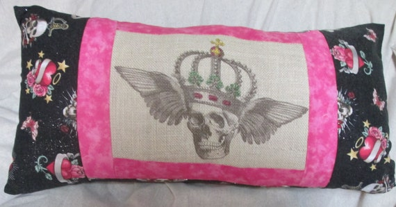 Pink and Black Pillow Sugar Skull, Day of the Dead, Halloween, Dorm Decor 12 x 24 Insert included