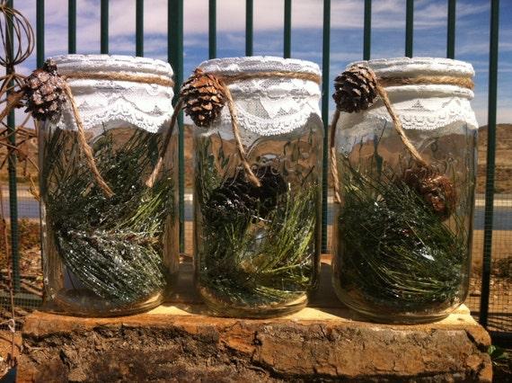 Items similar to rustic winter decor christmas mason jars for Christmas table decorations using mason jars