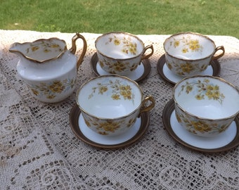 Vintage Set of 4 Tea Cups a Creamer/Free Shipping