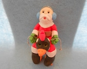 Santa on a Chicken Christmas Ornament Decoration Polymer Clay