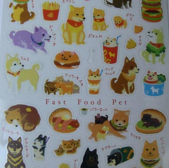 Kawaii Japanese Mc DOGS BURGER sticker sheet