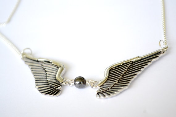 """20"""" Angel Wing Necklace with Hematite"""