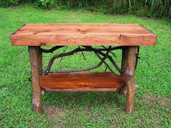 Rustic Tree Trunk Console Entry Table Handmade Sofa Table with shelf Log Cabin Furniture FREE SHIPPING