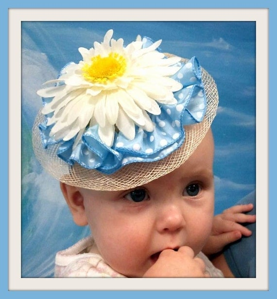 White Daisy over Blue and White Dot Ruffle Baby Hat