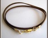 25,  26,  27 inch  Cord, Brown Necklace Cord, Chocolate Fizz Cord, Pendant cord, Jewelry Cord, Gold Clasp , Handmade, Suede cord Unisex