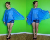 Handmade ONE OF A KIND Sheer Blue Cover Up Poncho with Sparkles