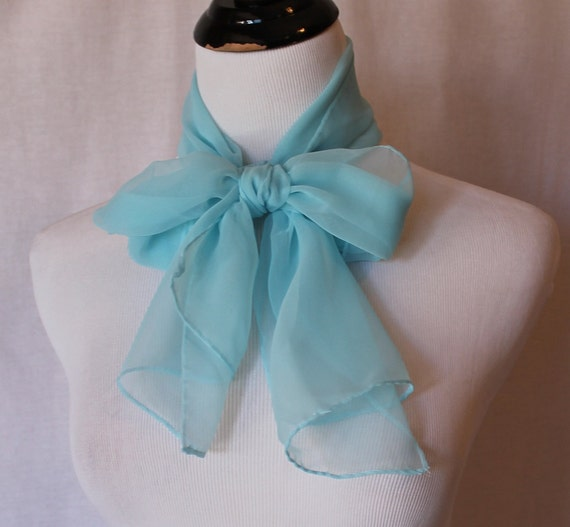 CLEARANCE Baby Blue Sheer Long Vintage Scarf