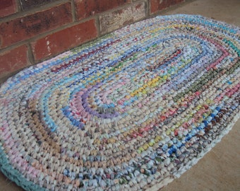 "Crocheted Rug / Rag Rug.  Shabby, Boho, Vintage Decor - 24"" x 36"" Hand-made in the USA - 100% reclaimed / recycled materials. Eco Friendly"