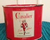 CAVALIER CIGARETTE TIN - King Size - Oval Tin by R J Reynolds Tobacco Co c. 1940 - Strong Cavalier Graphic