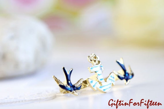 Voyage - Vintage Style Jewelry Two Swallows And Anchor Double Finger Ring Gold Tone Hand Polished Steampunk OOAK by Giftin For Fifteen