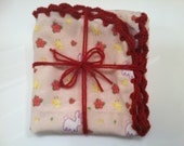 Red Floral Crocheted Receiving Blanket with Crocheted Edge - Bunnies and Chicks