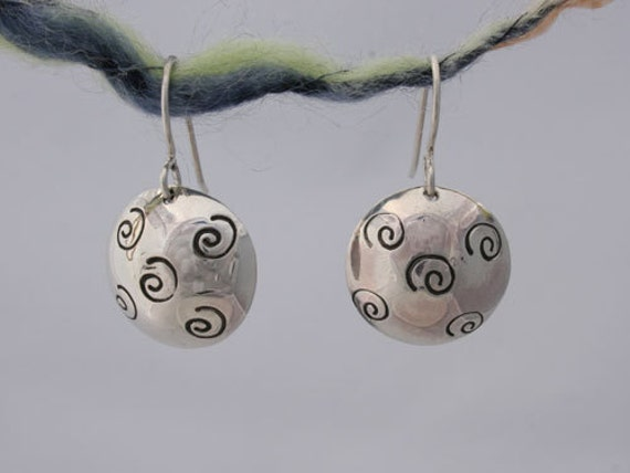 Sterling Silver Drop Earrings with Stamped Curlycues