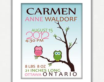 Owl Nursery Wall Art - Personalized Owl Birth Story Details Nursery Decor - Digital Print