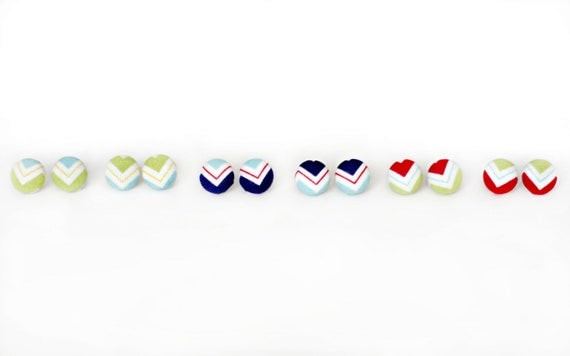 Tri-Color Chevron Collection - ONE PAIR Fabric Cover Button Earrings