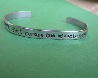"""Miracle Bracelet: Don't Quit before the Miracle Happens"""" bracelet Spiritually Inspired"""