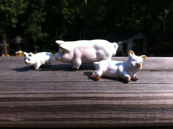 SALE -- Antique Vintage Bone China Pig Family. Includes Momma and Two Piglets. Crafted of Fine China. Finished off smooth and Shiny. CUTE.