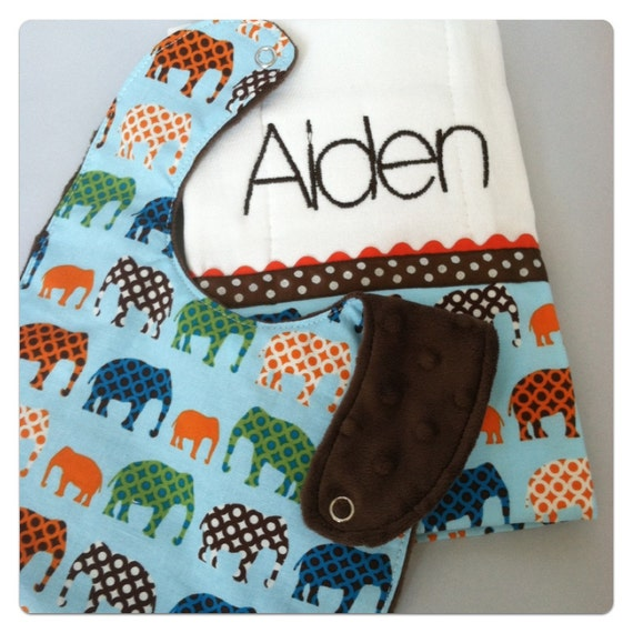 Boutique Baby/Toddler Bib and Burp Cloth Set...Elephants...Burp Cloth Personalized