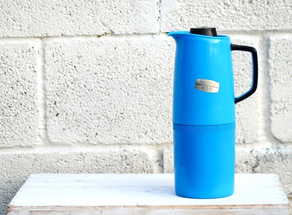 Blue Thermos Jug Retro Picnic flask for camping camper van