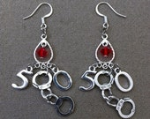 50 Shades Of Grey Inspired Handcuff Silver Plated Earrings w/ Genuine Swarovski Crystals