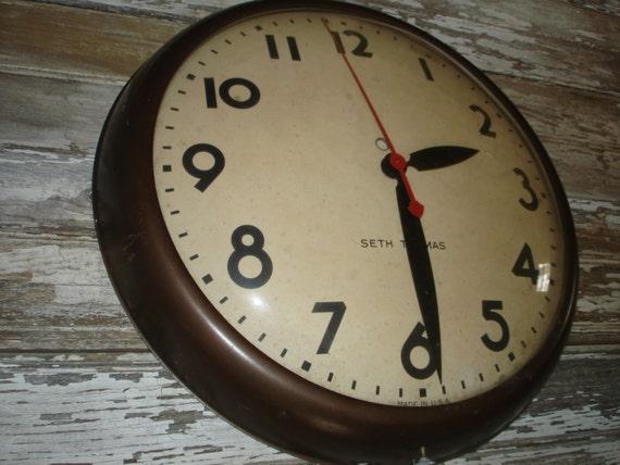 Vintage School Industrial Clock Seth Thomas Electric Wall