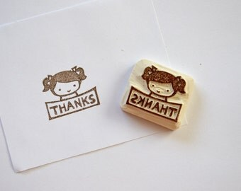 Hand Carved Rubber Stamp / Thanks