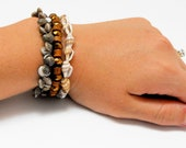 Stackable Shell & Wood Stretchy Bracelets - Set of 3