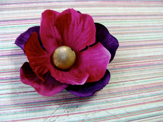 vintage button flower hair clip in gold, fuchsia, and deep purple