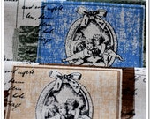 100% Natural Printed Linen Cotton Blend Fabric Bundle,Angel's Letter,Tablecloth,Apparel,Handmade Bag